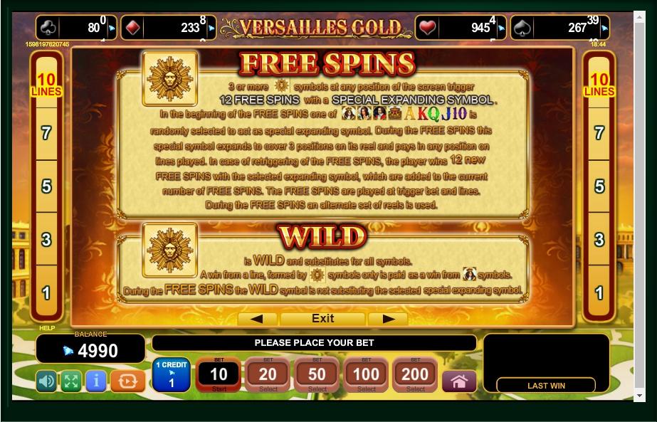 versailles gold slot machine detail image 3