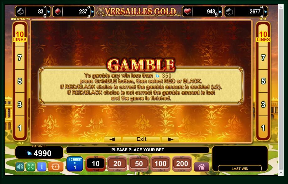 versailles gold slot machine detail image 2