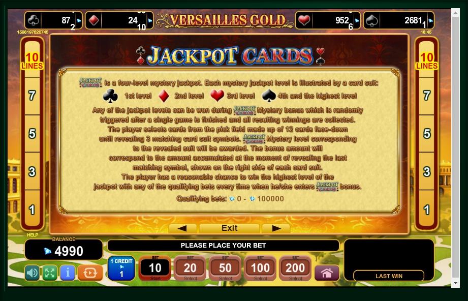 versailles gold slot machine detail image 1