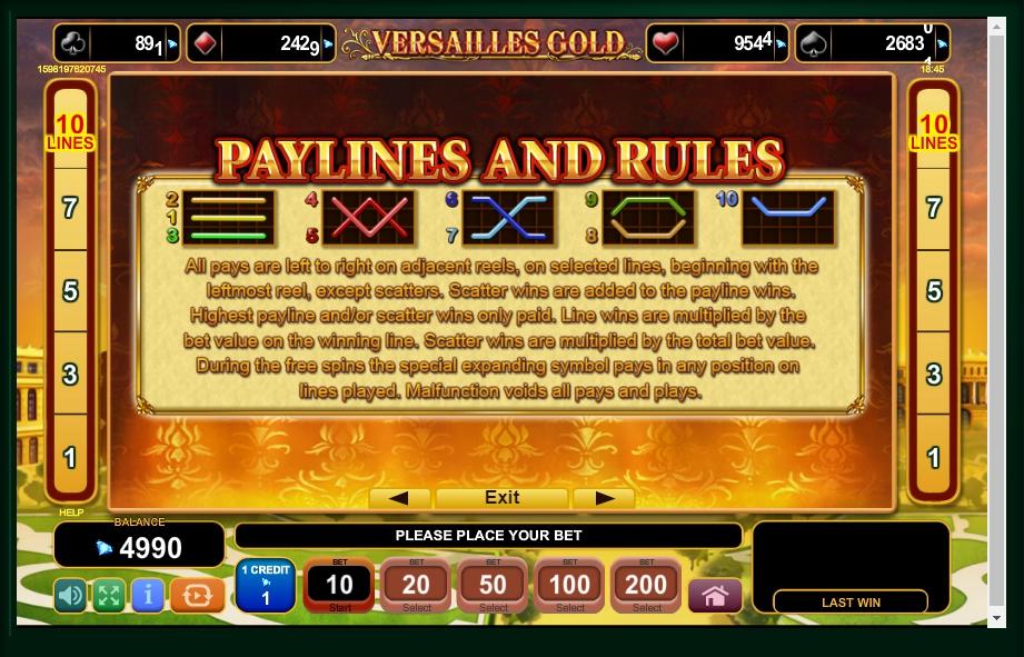 versailles gold slot machine detail image 0