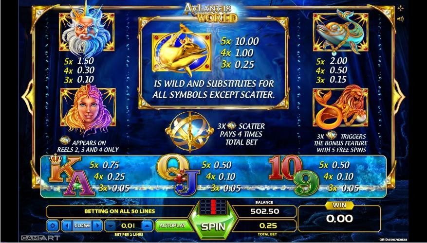 Atlantis World Videoslot: spiele GameArt Spielautomaten kostenlos und ohne Anmeldung auf ! Atlantis World ist ein Videospielautomat mit 5 Walzen und 50 Gewinnlinien, der vom GameArt-Softwareanbieter betrieben wird.Dieser Slot ist inspiriert von den verborgenen Schätzen von Atlantis und den Versprechen der verlorenen Welt.Es ist ein wunderschöner Slot mit einer .Bandırma