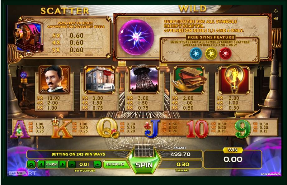 tesla: spark of genius slot machine detail image 2