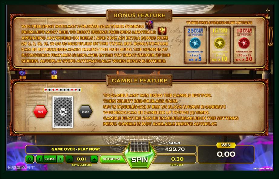 tesla: spark of genius slot machine detail image 1