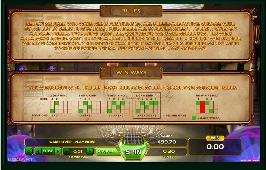 tesla: spark of genius slot machine detail image 0