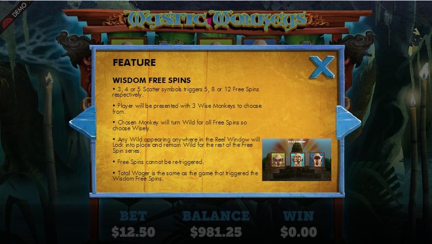 mystic monkeys slot machine detail image 2