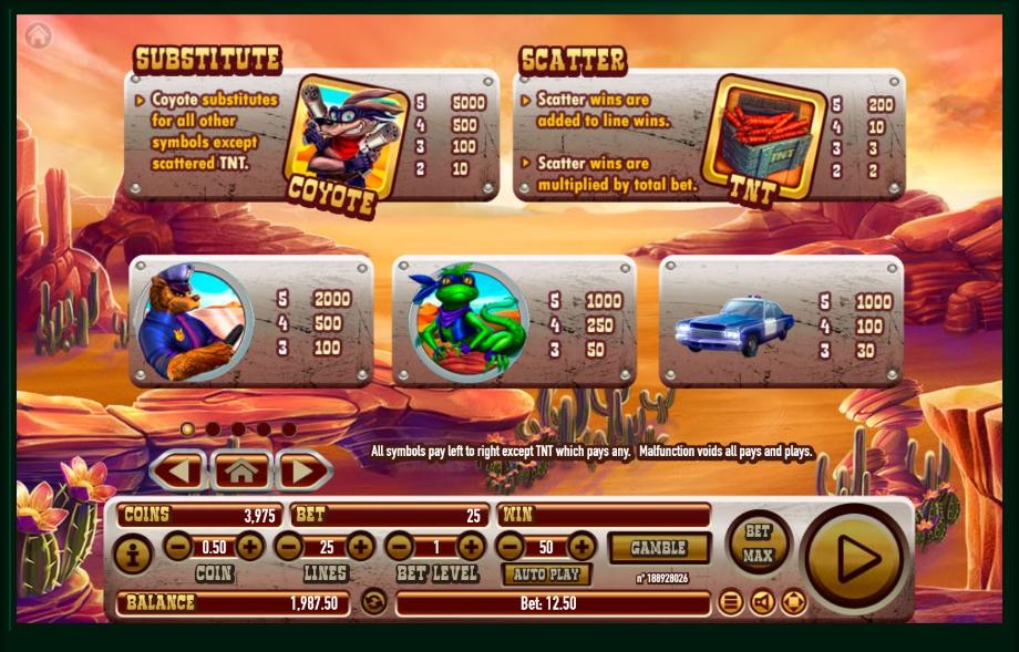 Coyote Crash Free Play Slot Machine