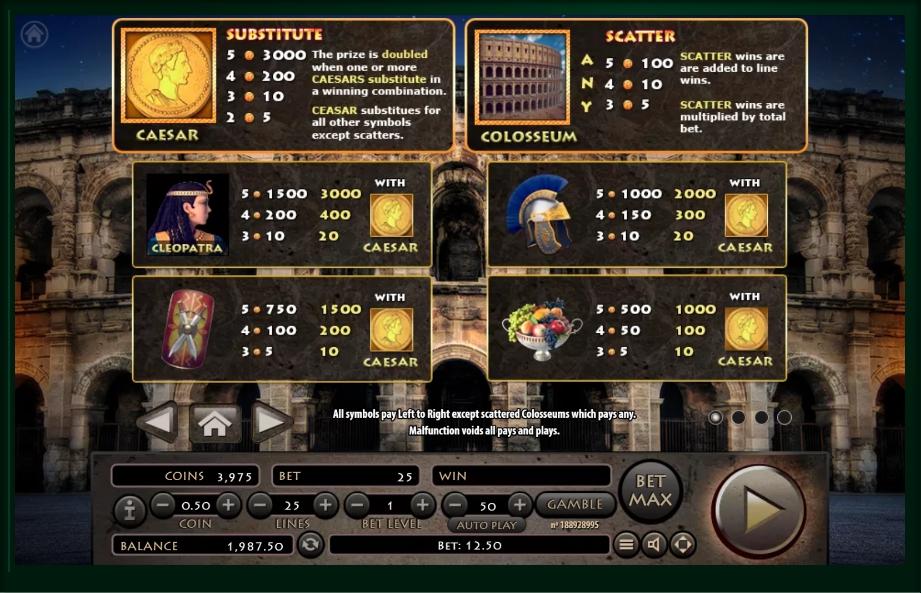 roman empire slot machine detail image 3