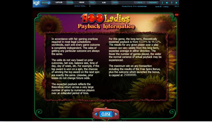 100 ladies slot machine detail image 0
