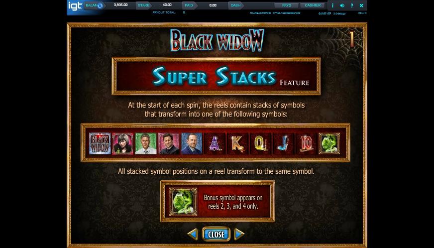 black widow slot machine detail image 6