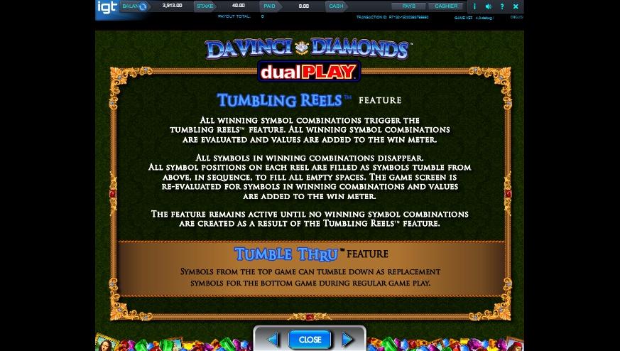 da vinci diamond dual play slot machine detail image 6