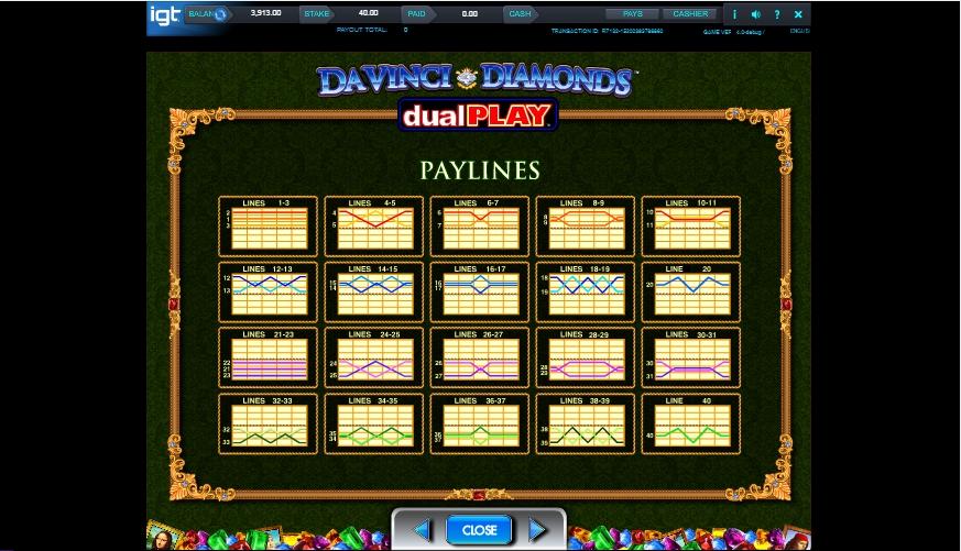 da vinci diamond dual play slot machine detail image 3