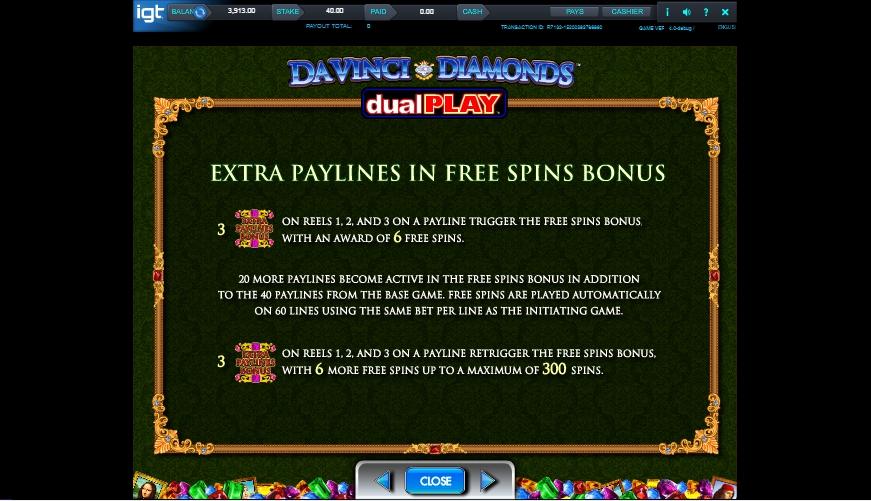 da vinci diamond dual play slot machine detail image 2