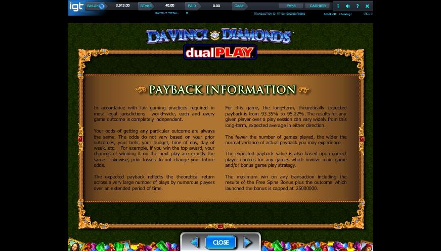 da vinci diamond dual play slot machine detail image 0