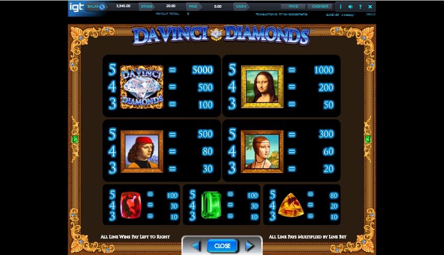 da vinci diamonds slot machine detail image 4