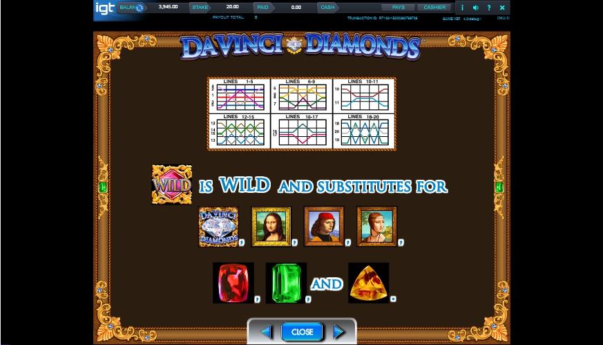 da vinci diamonds slot machine detail image 3