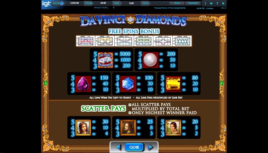 da vinci diamonds slot machine detail image 1