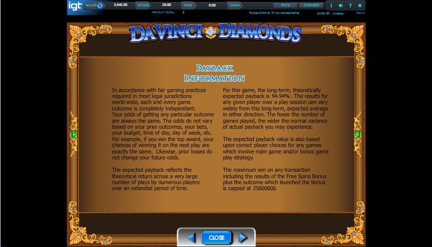 da vinci diamonds slot machine detail image 0