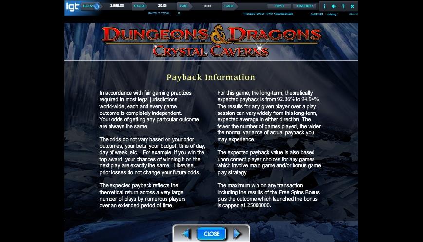 dungeons and dragons: crystal caverns slot slot machine detail image 0