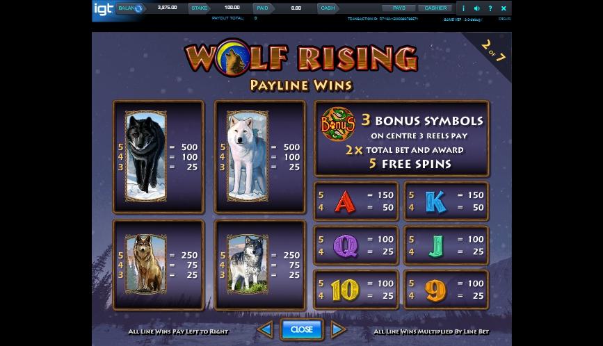 wolf rising slot machine detail image 5