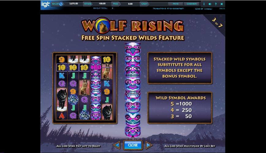 wolf rising slot machine detail image 4