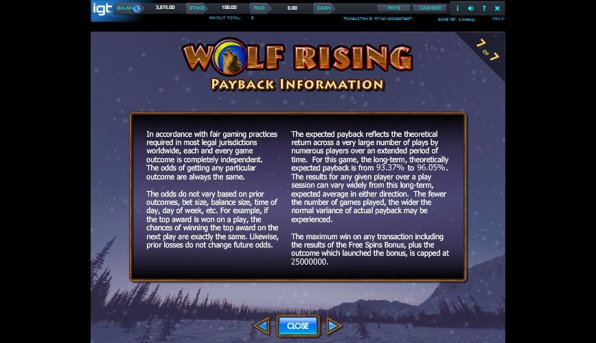 wolf rising slot machine detail image 0