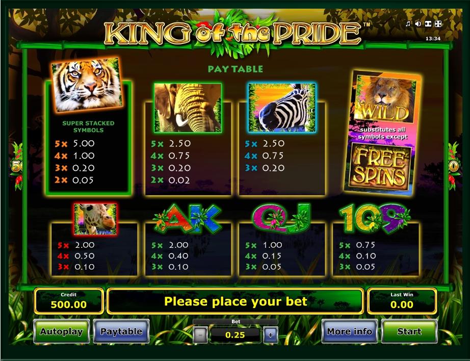 king of the pride slot machine detail image 0