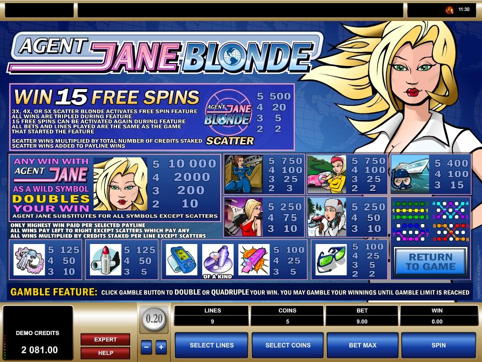 Agent jane blonde microgaming slot game entertainment era