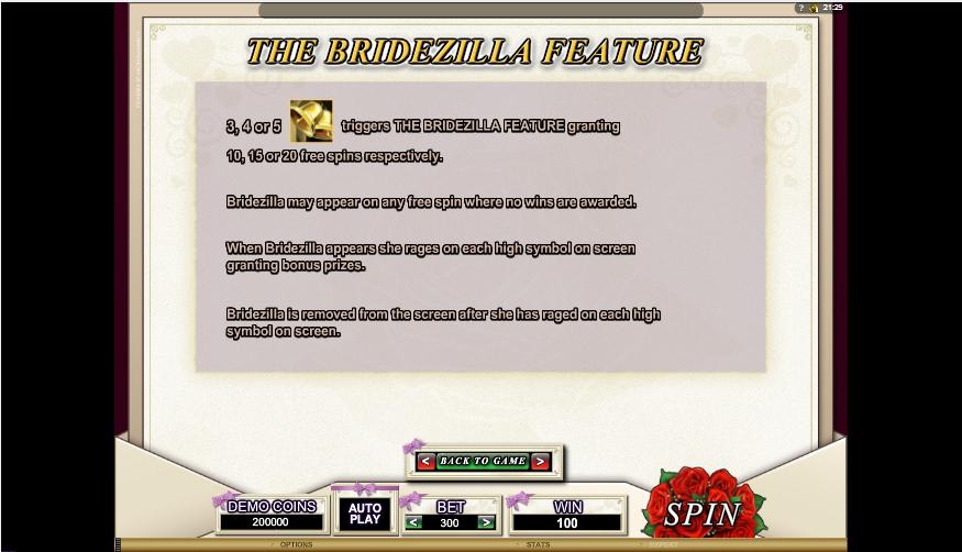 bridezilla slot machine detail image 4