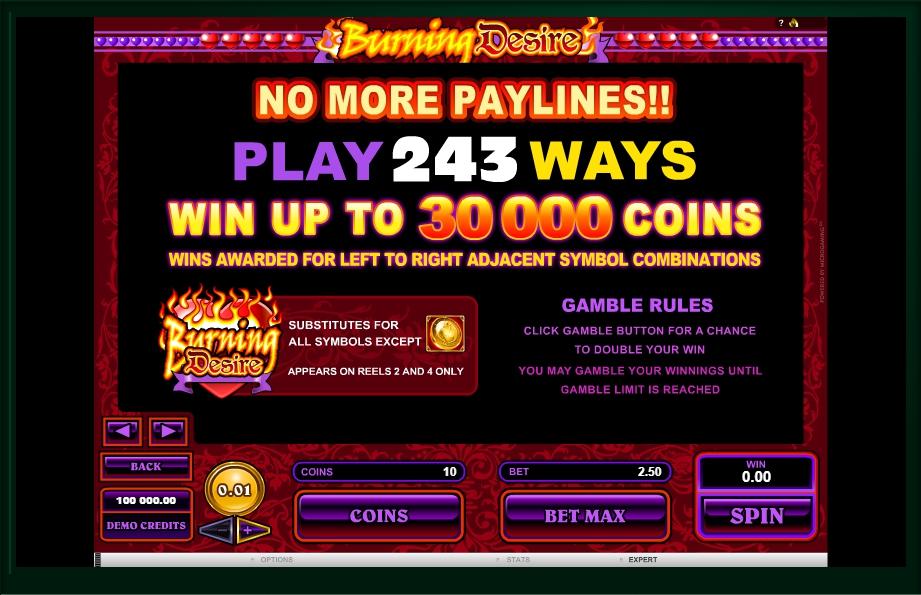 burning desire slot machine detail image 2