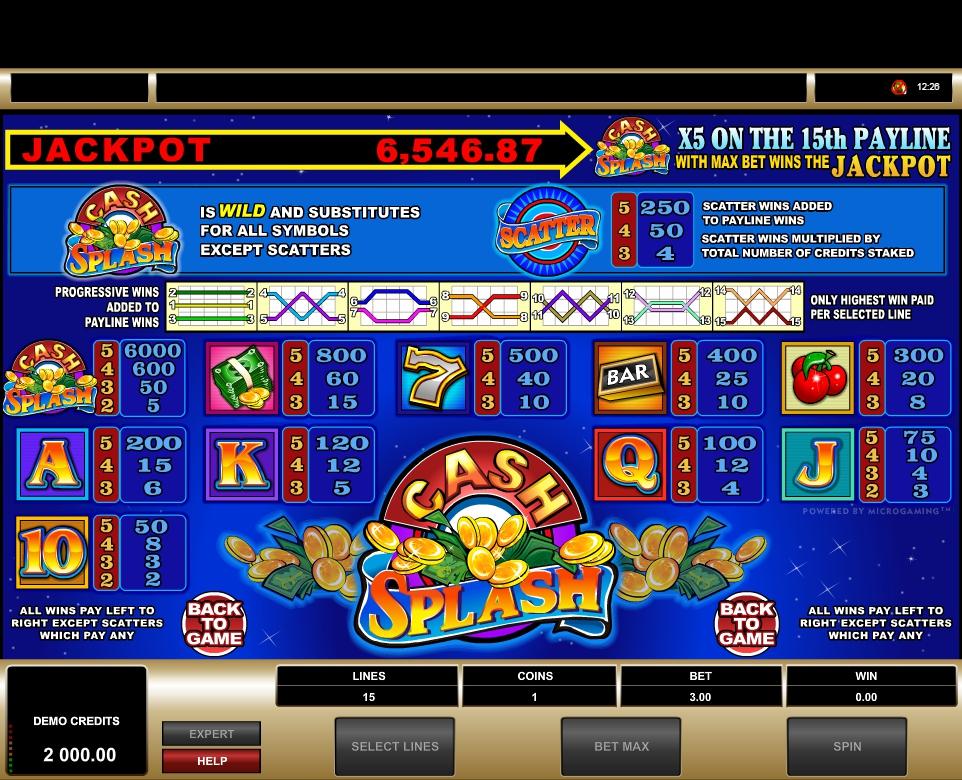 cash splash 5 reel slot machine detail image 1