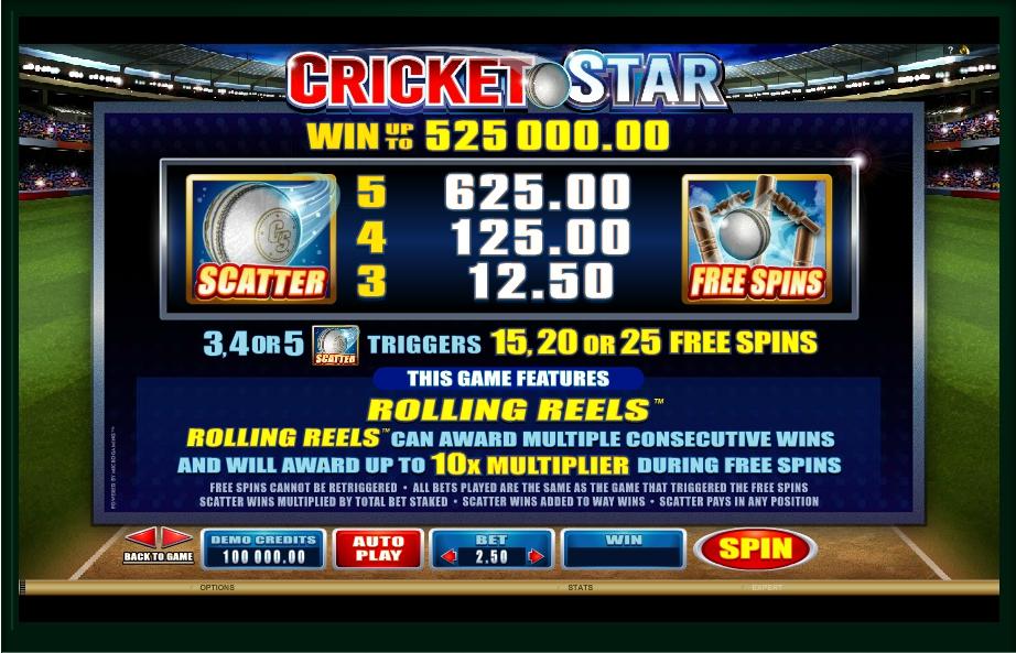 cricket star slot machine detail image 2