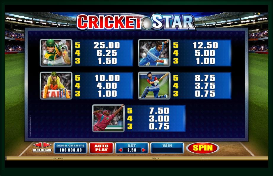 cricket star slot machine detail image 1