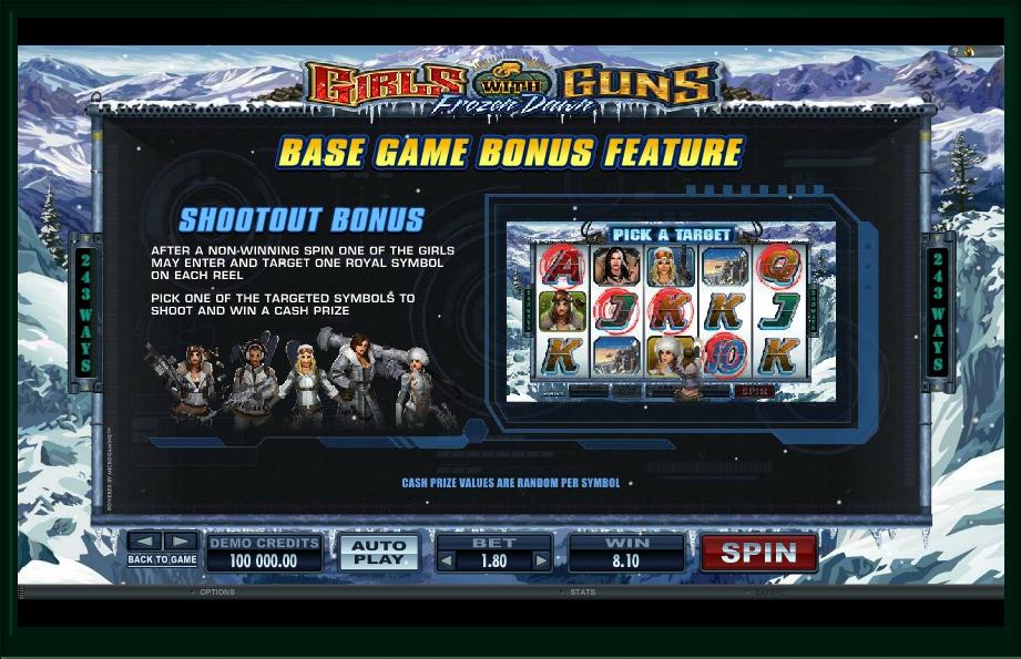 girls with guns frozen dawn slot machine detail image 7