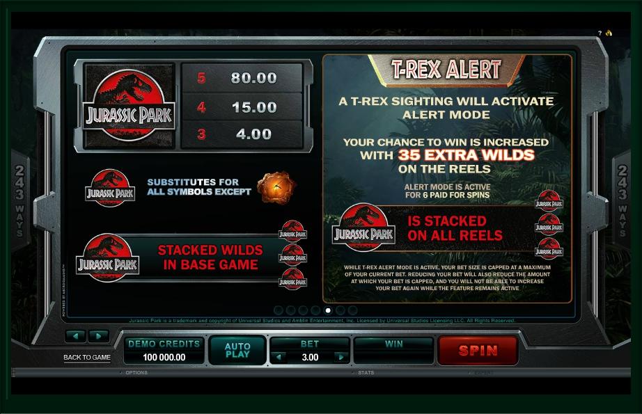 jurassic park slot machine detail image 2
