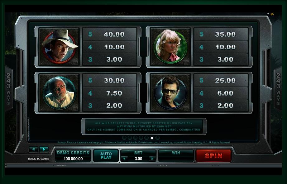 jurassic park slot machine detail image 1