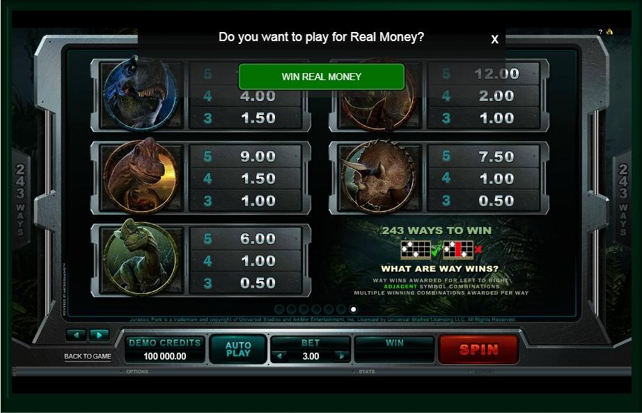 jurassic park slot machine detail image 0