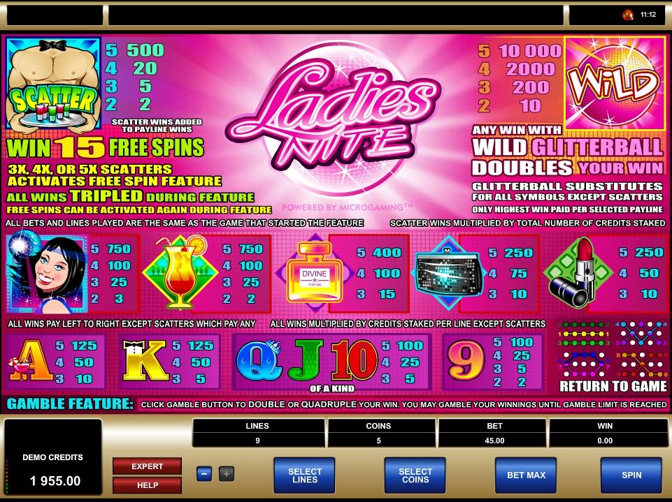 ladies nite slot machine detail image 0