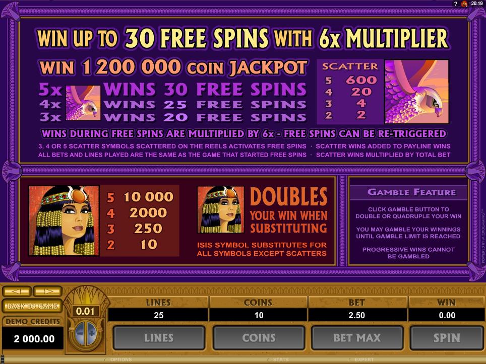 mega moolah isis slot slot machine detail image 1