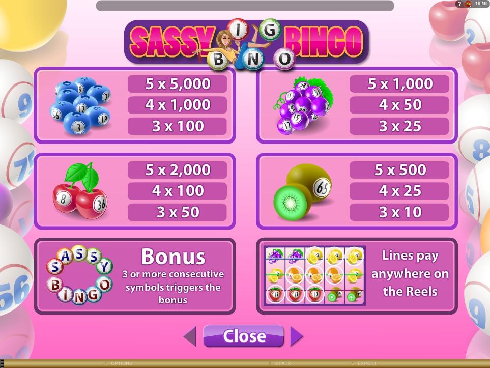sassy bingo slot machine detail image 1