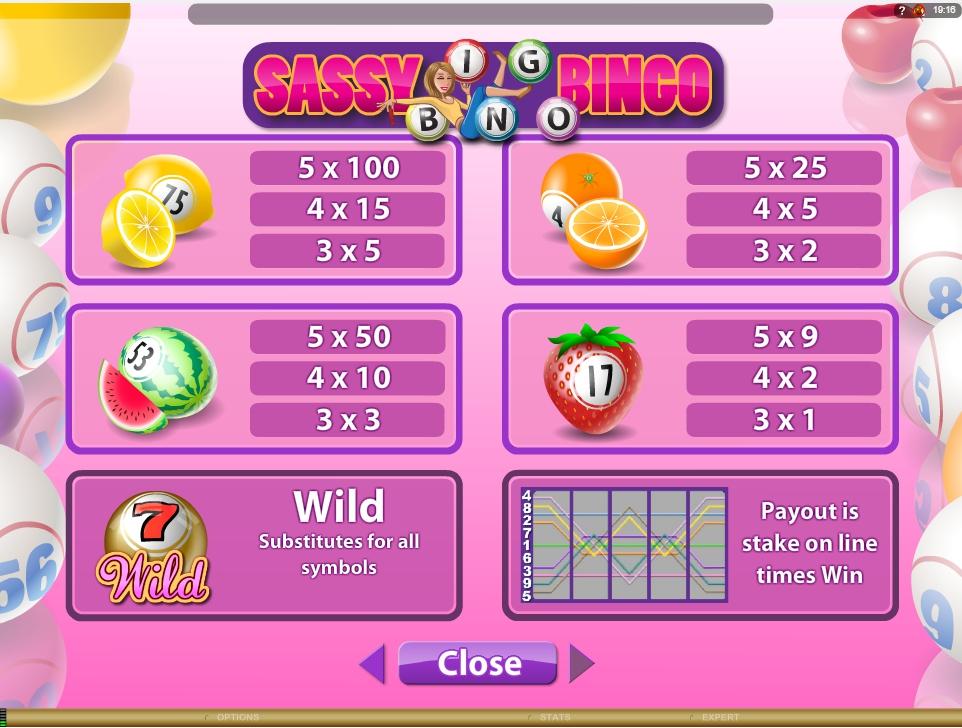 sassy bingo slot machine detail image 0
