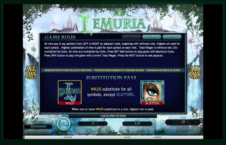 the forgotten land of lemuria slot machine detail image 2
