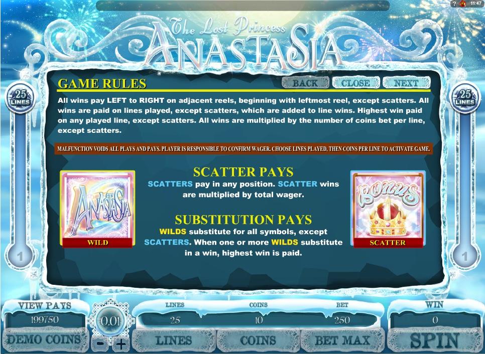 the lost princess anastasia slot machine detail image 3