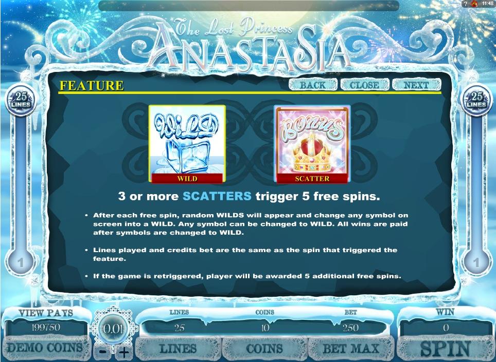 the lost princess anastasia slot machine detail image 1