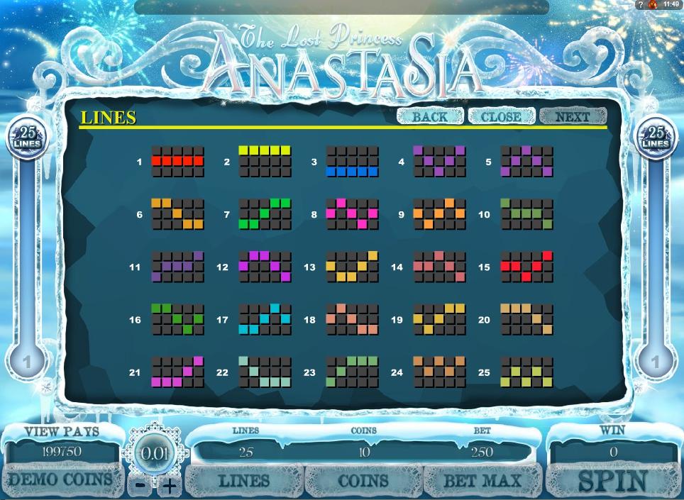 the lost princess anastasia slot machine detail image 0