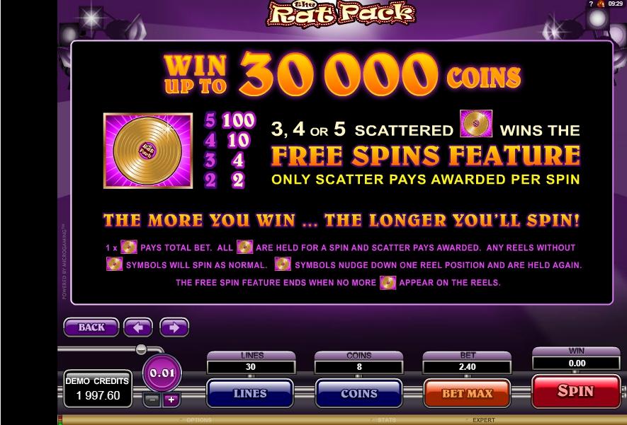 the rat pack slot machine detail image 3