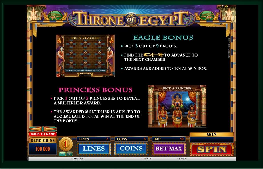 throne of egypt slot machine detail image 2