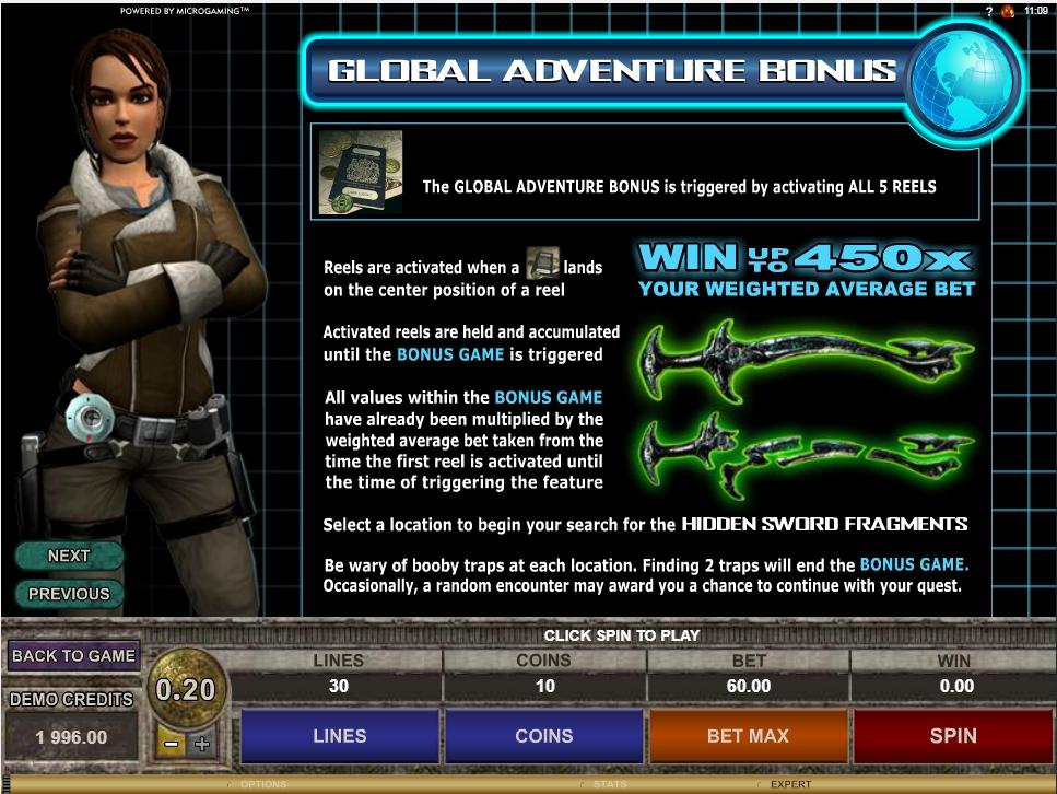 Tomb Raider Secret Of the Sword Slot Machine