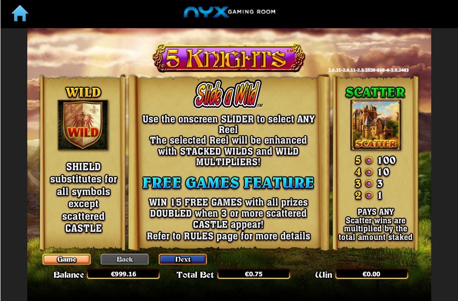 5 knights slot machine detail image 6