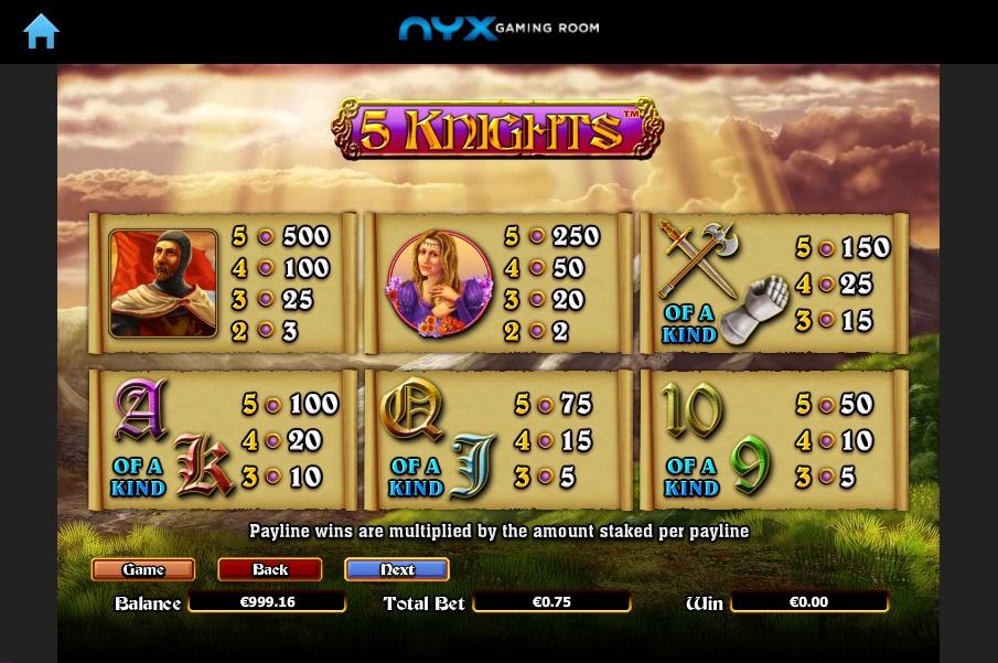 5 knights slot machine detail image 5