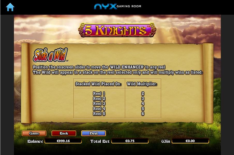 5 knights slot machine detail image 4